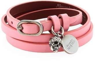 Alexander McQueen Leather Multi-Wrap Charm Bracelet