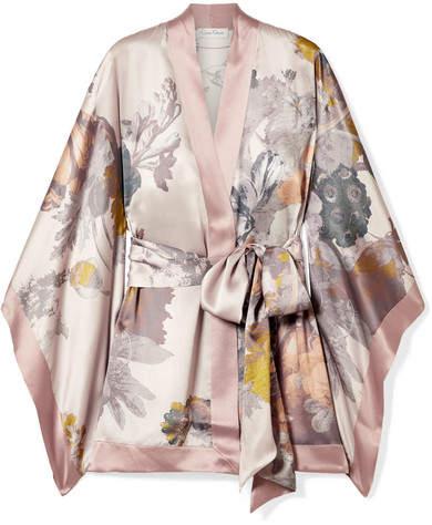 Carine Gilson Floral-print Silk-satin Robe - Blush