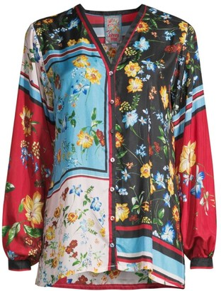 Johnny Was Perdita Mixed Floral-Print Blouse