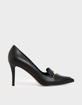 Charles & Keith Embellished Loafer Court Shoes
