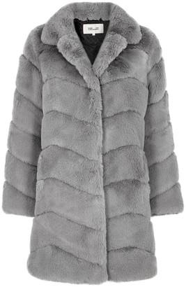 Diane von Furstenberg Tirzah grey faux fur coat