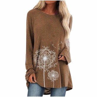 KPILP Womens Tunic Tops Long Sleeve Loose fit Blouse Fashion T-Shirt Ladies Crop Tops Round Neck Casual Leisure Baggy Dress Shirt Floral Print Pullover Sweatshirt(Khaki 5XL)