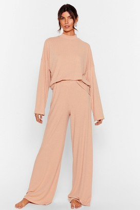 Nasty Gal Womens Chill Out Wide-Leg trousers Lounge Set - Beige - 6, Beige