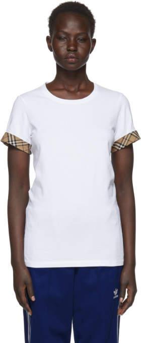 Burberry White Check Cuffs T-Shirt