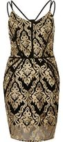 River Island Womens Gold embroidered bodycon dress