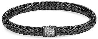 John Hardy Classic Chain Black Rhodium-Plated Sterling Silver & White Diamond Small Bracelet