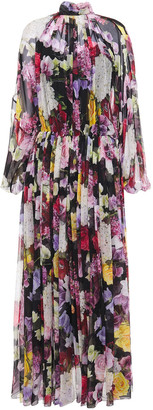 Dolce & Gabbana Gathered Floral-print Silk-chiffon Maxi Dress