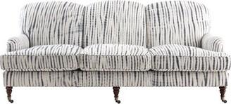 "Imagine Home Edith 84"" Wide Cotton Recessed Arm Sofa Fabric: Gray/ Natural Stripe 100% Cotton"
