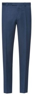 HUGO Extra-slim-fit virgin-wool trousers with micro pattern