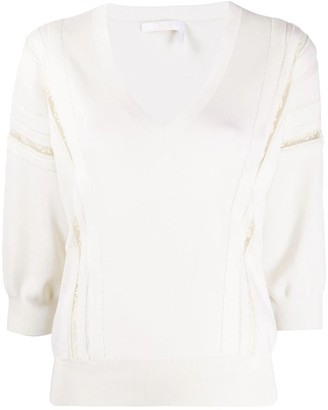 Chloé Ivory Lace-trim Knitted Top