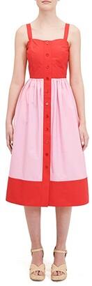 Kate Spade Color-Block Poplin Dress (Lava Red) Women's Dress