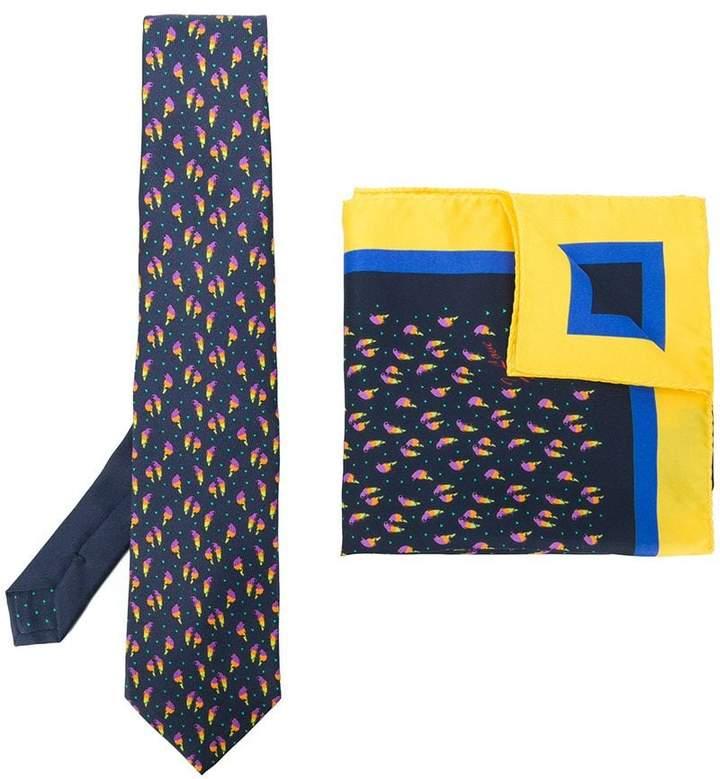 Etro bird print tie and pocket square set