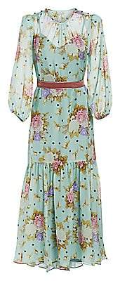 Black Iris Women's The Iris Dot Rose-Print Silk A-Line Midi Dress