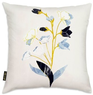 Oliver Gal Flowers with Ochre Throw Pillow