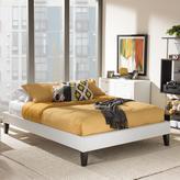 Baxton Studio Lancashire Mid-Century White Faux Leather Upholstered King Size Bed Frame