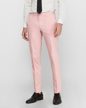 Express Extra Slim Pink Cotton-Blend Stretch Suit Pant