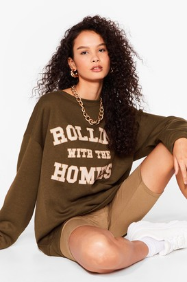 Nasty Gal Womens Rolling with The Homies Slogan Sweat - Green - S