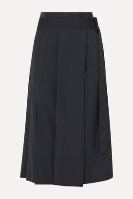 Low Classic Pleated Belted Crepe Midi Skirt - Navy