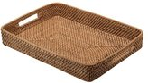 KOUBOO Rattan Serving Tray with Cut-Out Handles, Honey Brown