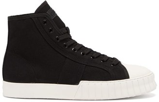 Primury Divid Hi Recycled Cotton-canvas Trainers - Black White