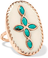 Pascale Monvoisin Bowie 9-karat Rose Gold, Turquoise And Resin Ring - 7