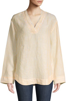 Pure Navy Striped Linen Blouse
