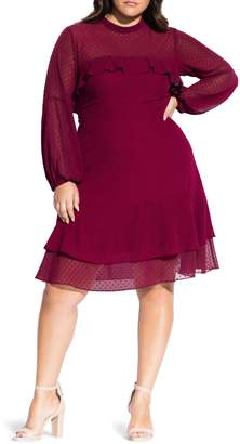 City Chic Dobby Long Sleeve Fit & Flare Dress
