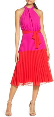Julia Jordan Colorblock Pleated Halter Midi Dress