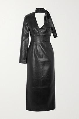 MATÉRIEL One-shoulder Scarf-detail Faux Leather Midi Dress - Black