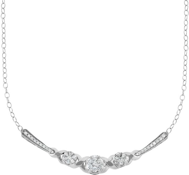 Xo 1/2 Carat T.W. Diamond 10k White Gold Necklace