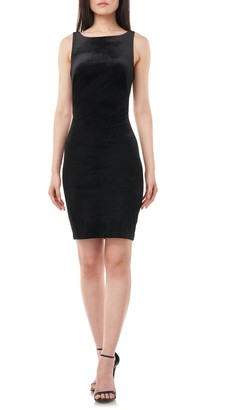 Theia Twisted Open Back Velvet Cocktail Dress