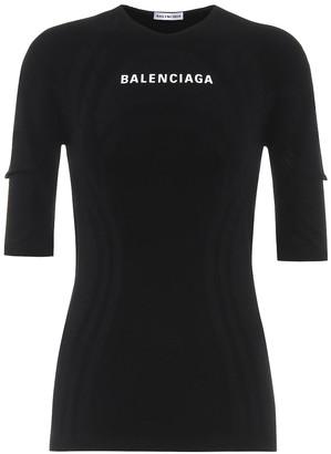 Balenciaga Logo stretch-jersey top