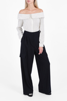 Tibi Wide Leg Twill Trousers