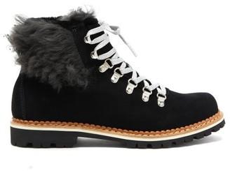 Montelliana Clara Shearling Lined Suede Apres Ski Boots - Womens - Black