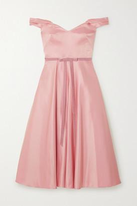 Marchesa Off-the-shoulder Velvet-trimmed Duchesse-satin Midi Dress - Antique rose