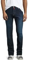 Jacob Cohen Dark-Wash Straight-Leg Stretch-Denim Jeans with Red Stitching, Blue
