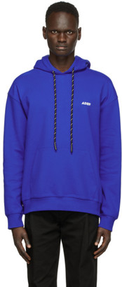 Ader Error Blue Embroidered Logo Hoodie