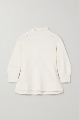 Apiece Apart Victoria Pointelle-trimmed Alpaca-blend Sweater - Off-white