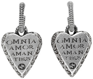Gucci Silver Engraved Heart Earrings