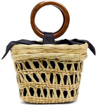 Sensi Bamboo-handle Straw Basket Tote Bag - Womens - Beige