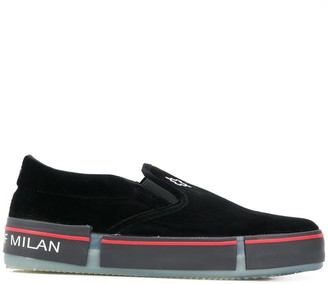 Marcelo Burlon County of Milan Cross velvet slip-on sneakers
