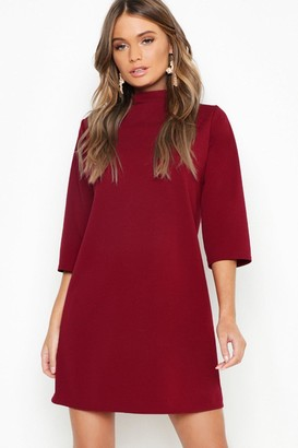 boohoo High Neck 3/4 Sleeve Shift Dress