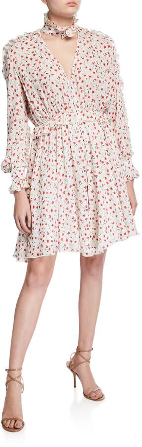 Fleur Du Mal Mock-Neck Printed Ruffle Shirt Dress