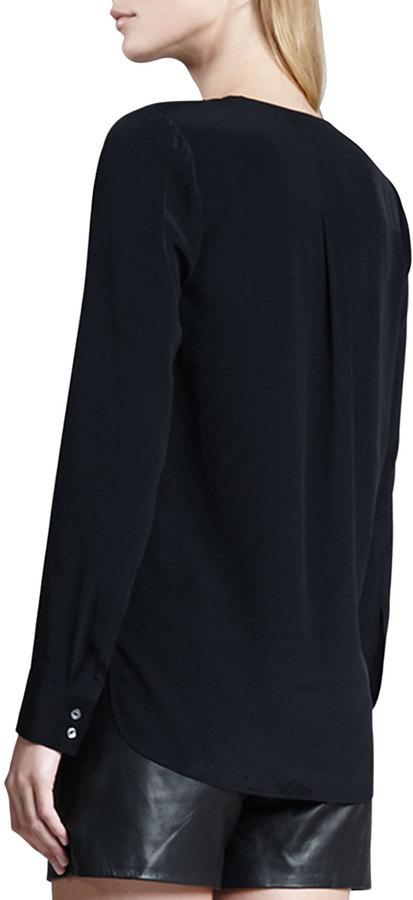 Vince Silk Long-Sleeve Blouse, Black