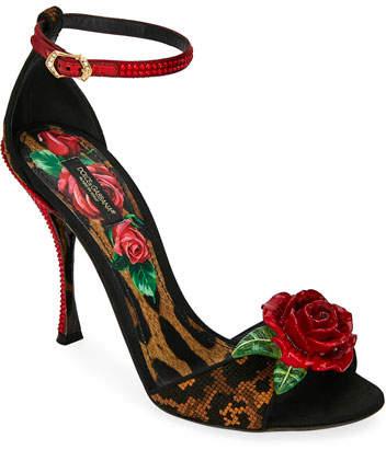 Dolce & Gabbana Leopard and Rose Sandals