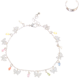Carole Multicolor Crystal & Silvertone Butterfly Anklet & Toe Ring