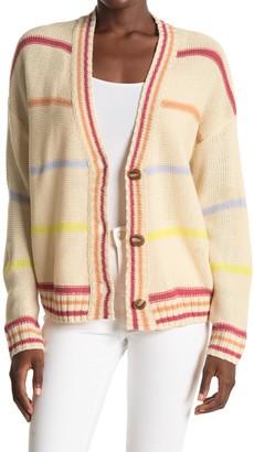 Lush Striped V-Neck Button Cardigan