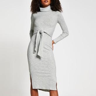 River Island Womens Grey long sleeve tie waist midi jumper dress