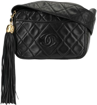 Chanel Pre Owned 1992s Quilted Fringe Crossbody Shoulder Bag