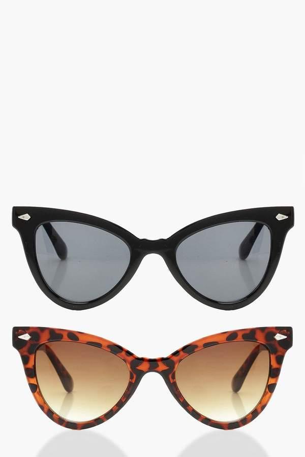 boohoo 2 Pack Classic Cat Eye Sunglasses